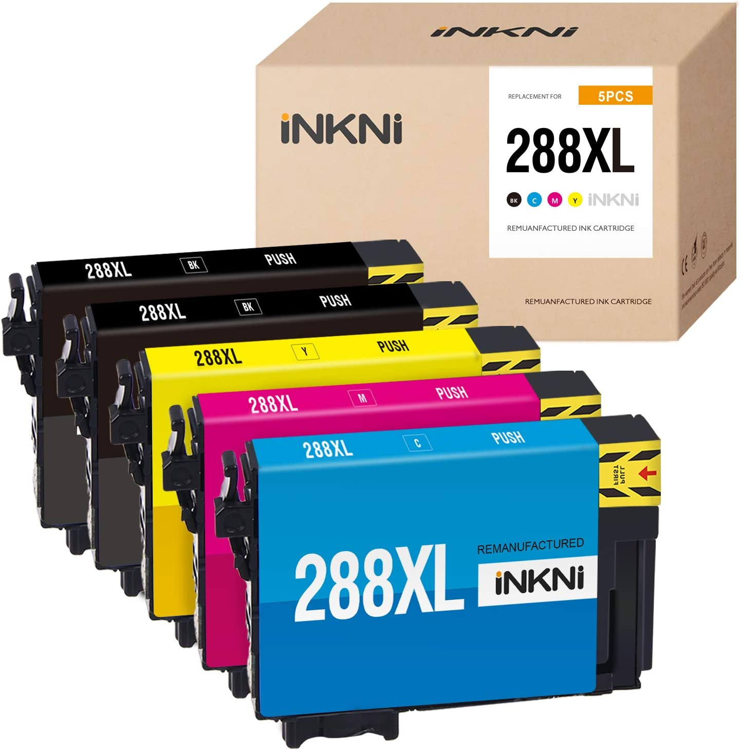 INKNI Remanufactured Ink Cartridge Replacement for Epson 288XL 288 XL T288XL High Capacity Ink for Expression Home XP-440 XP-340 XP-330 XP-430 XP-446 XP-434( 2 Black, 1 Cyan Magenta Yellow, 5-Pack)