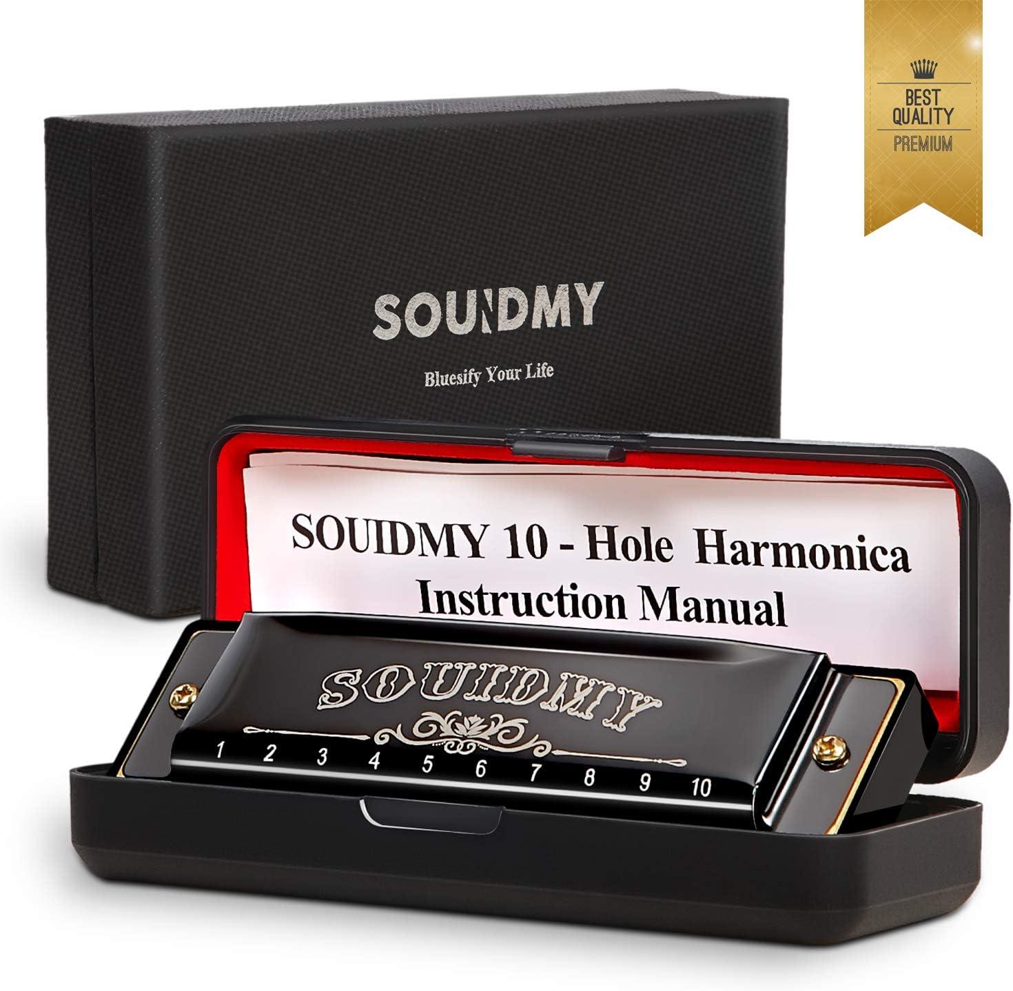 Armonica Souidmy, Blues Harmonica, para niños, principiantes, adultos con 10 agujeros 20 tonos, Major C, con caja de regalo, paño de limpieza, manual (negro)
