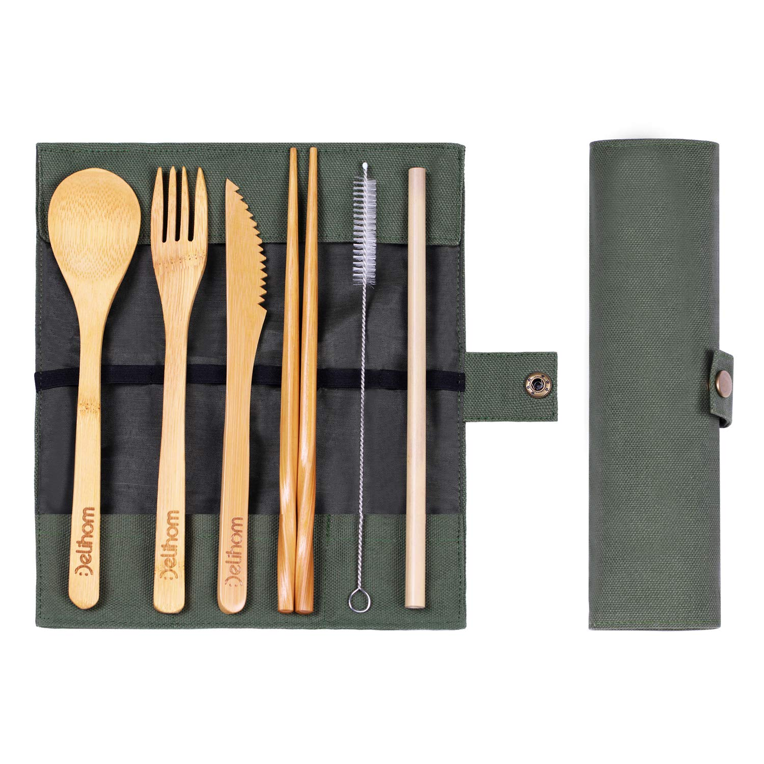 Delihom Bamboo Travel Cutlery Set, Eco Friendly Kids Flatware with Straw, Organic Bamboo Utensils with Cotton Pouch for Camping, Picnic, Office, School