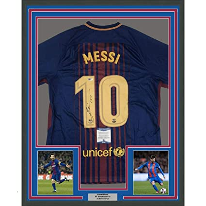 4114aca83d637 Framed Autographed/Signed Lionel Leo Messi 33x42 FC Barcelona Blue Soccer  Jersey Beckett BAS COA Auto at Amazon's Sports Collectibles Store