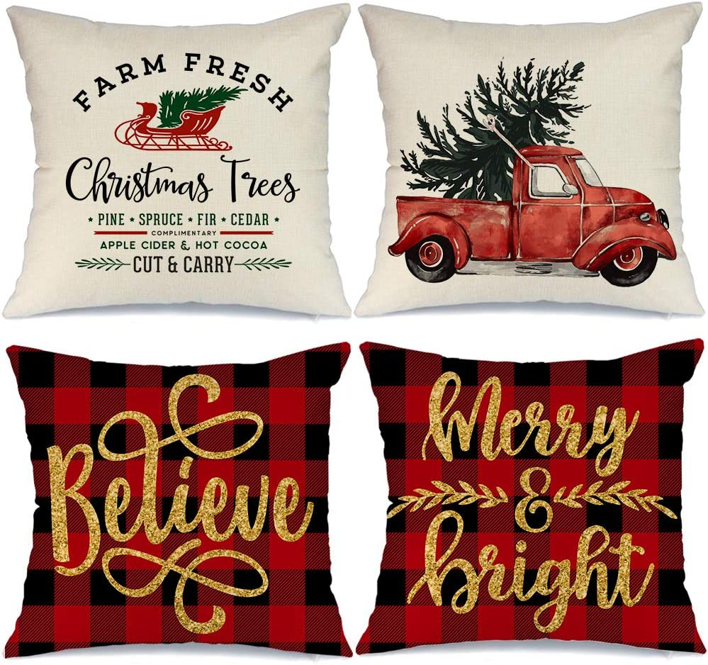 AENEY Buffalo Plaid Christmas Pillow Covers 18x18 Set of 4, Red Truck Believe Rustic Winter Holiday Throw Pillows Farmhouse Christmas Decor for Home, Xmas Decorations Cushion Cases for Couch A283