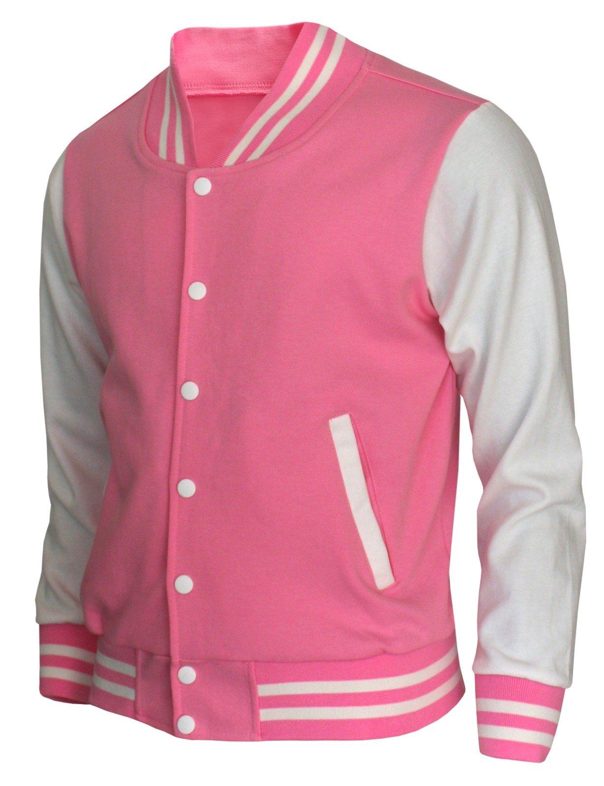 BCPOLO Baseball Jacket Varsity Baseball Cotton Jacket Letterman Jacket 8 Colors-Pink M by BCPOLO