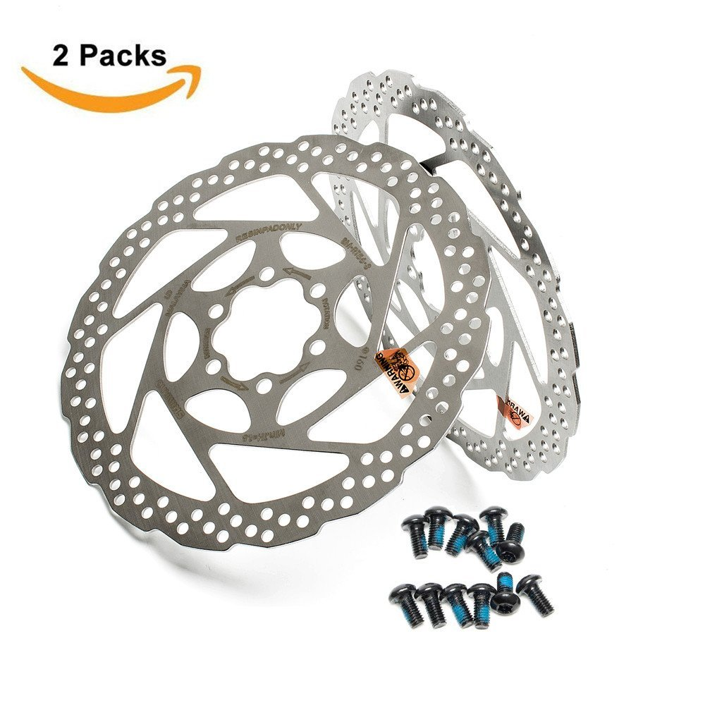 2pcs Shimano Deore 160mm Sm Rt56 S Disc Brake Rotor 6 System Related Parts Calipers Stainless Steel Sleeved Bolt Rotors For Mountain Bike Sports Outdoors