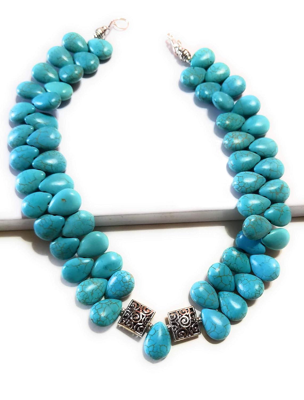 Blue Teardrop Beaded Necklace