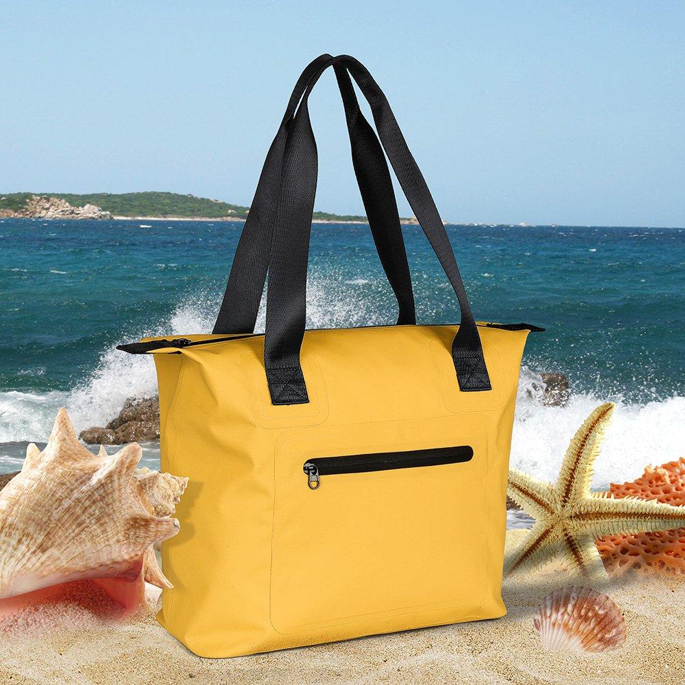 Miracase large beach bag, Waterproof Beach Bag Tote with Zipper Waterproof Lining for Beach Gym Hiking Picnic Travel (Yellow)