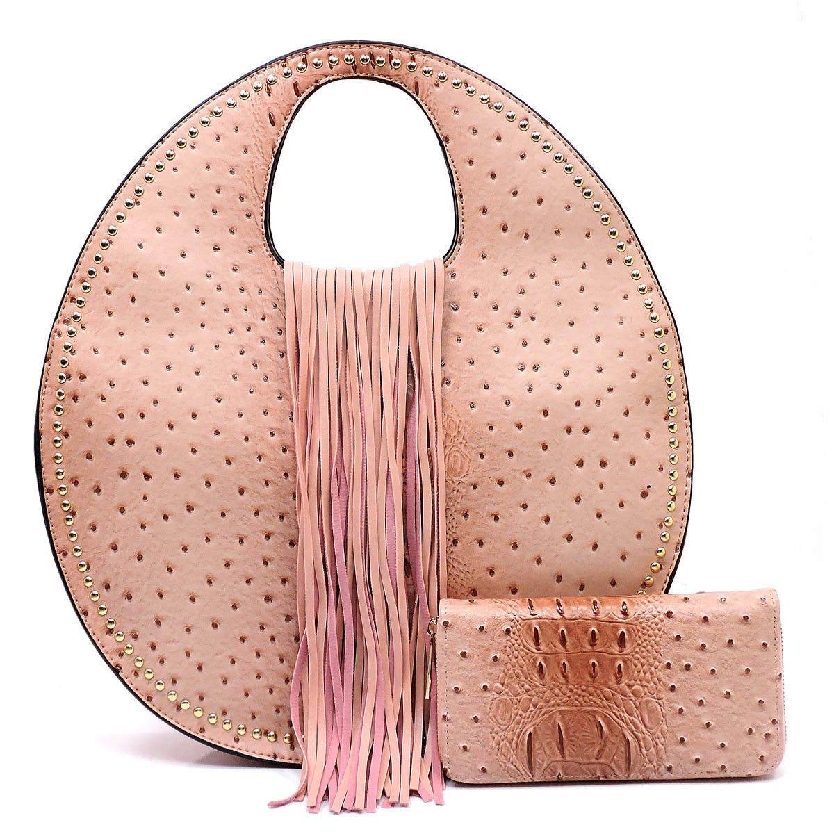 Handbag Republic Ostrich Embossed Round Satchel w Strap + Wallet bluesh