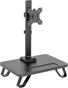 VIVO Black Freestanding Single Monitor Stand for up to 32 inch Screens | Ergonomic Monitor Mount with 16 inch Wide Desktop Riser Storage Organizer Base | Fits VESA up to 100x100 (STAND-V101SF)