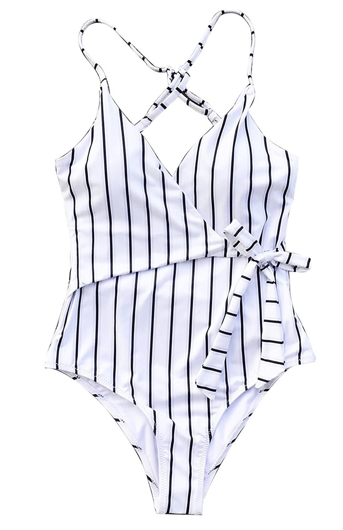Rainlover Fashion Backless Stay Young Stripe One-Piece Swimsuit Beach Swimwear Bathing Suit (US XS/Tag S, White)