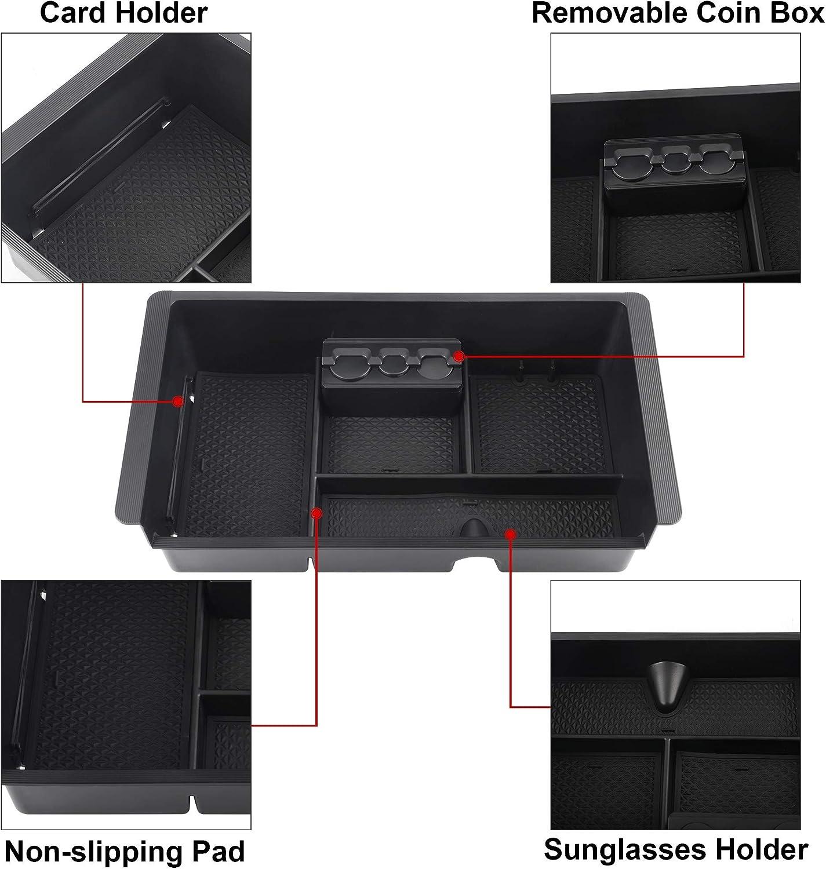 Richeer Center Console Organizer Compatible with 2014-2018 Silverado//Sierra 1500//2500HD//3500HD Yukon Yukon XL ABS Tray Armrest Box Secondary Storage Full Console w//Bucket Seats ONLY