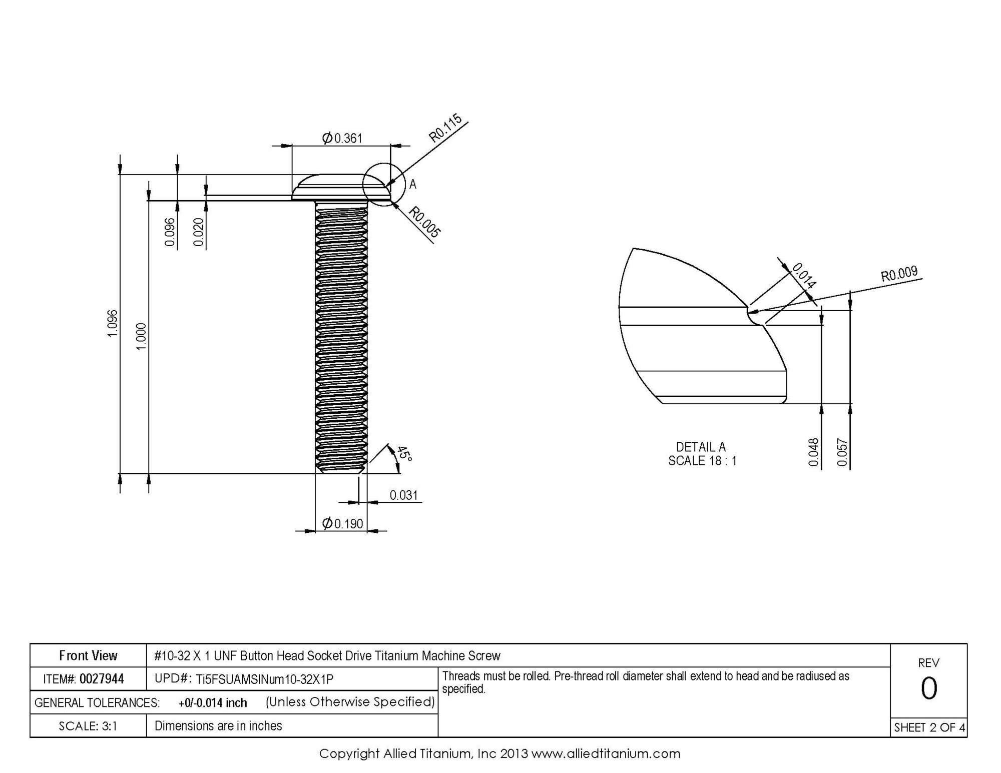 Allied Titanium 0027944, (Pack of 10) #10-32 X 1 UNF Button Head Socket Drive Machine Screw, Grade 5 (Ti-6Al-4V) by Allied Titanium (Image #3)