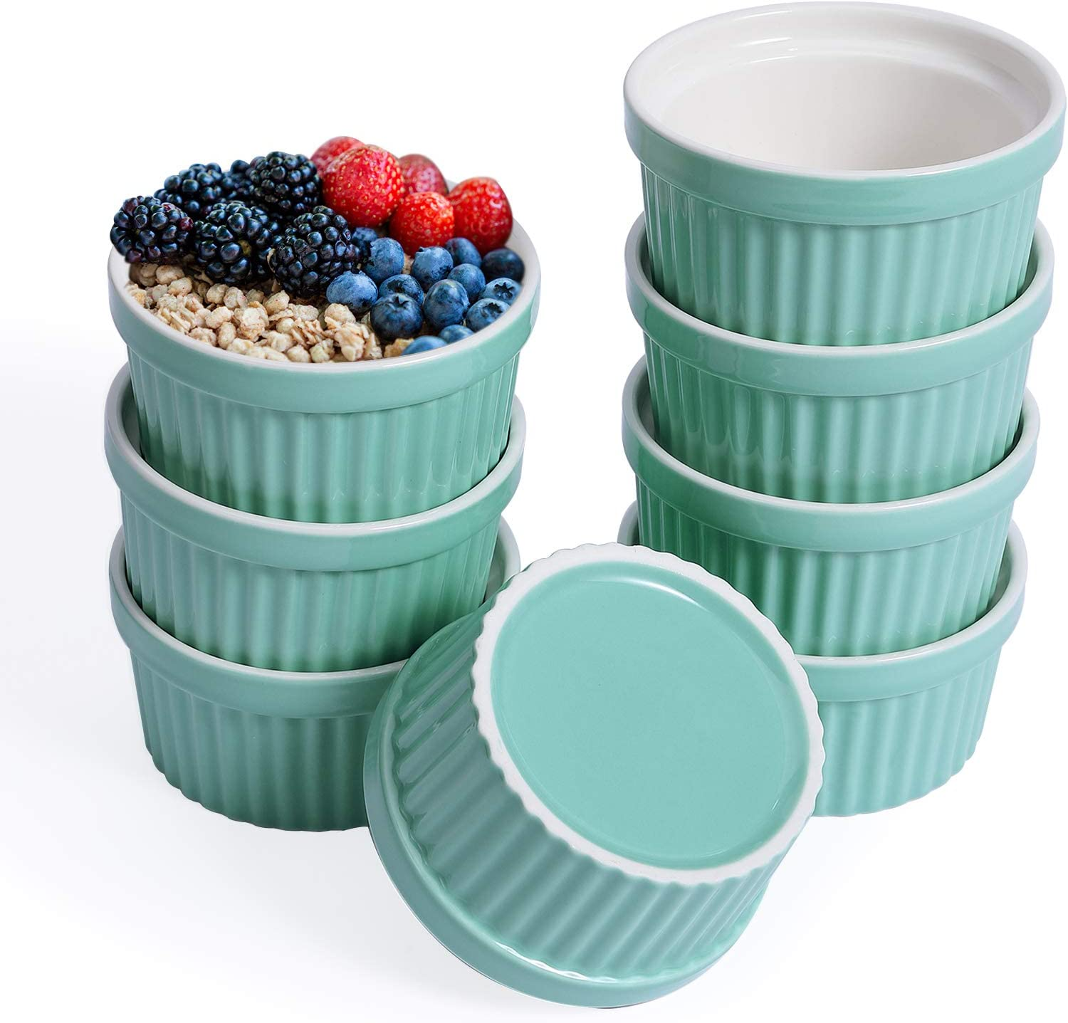 JOLLY CHEF 8 OZ Ramekins Bowls, Set of 8 Souffle Dishes Ramekins for Creme Brulee Dishes,Pudding, Custard Cups, Classic Porcelain Ramekins for Baking, Oven Safe, Blue.Ideal for Mother's Day Gifts