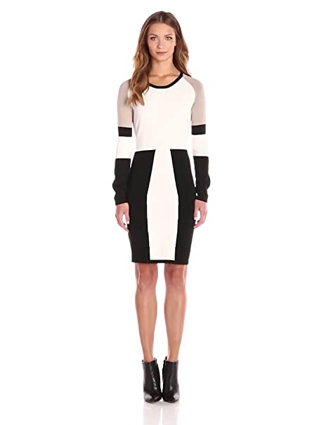 Black and cream color block dress