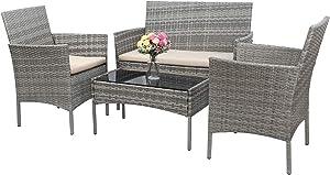 Greesum GS-4RCS4BG 4 Pieces Patio Outdoor Rattan Furniture Set, Gray and Beige