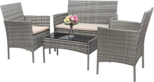 Greesum GS-4RCS4BG 4 Pieces Patio Outdoor Rattan Furniture Set