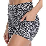 Amazon Essentials Women's Yoga Workout High Waist Shorts Side Pockets,Running Biker Gym Print Short