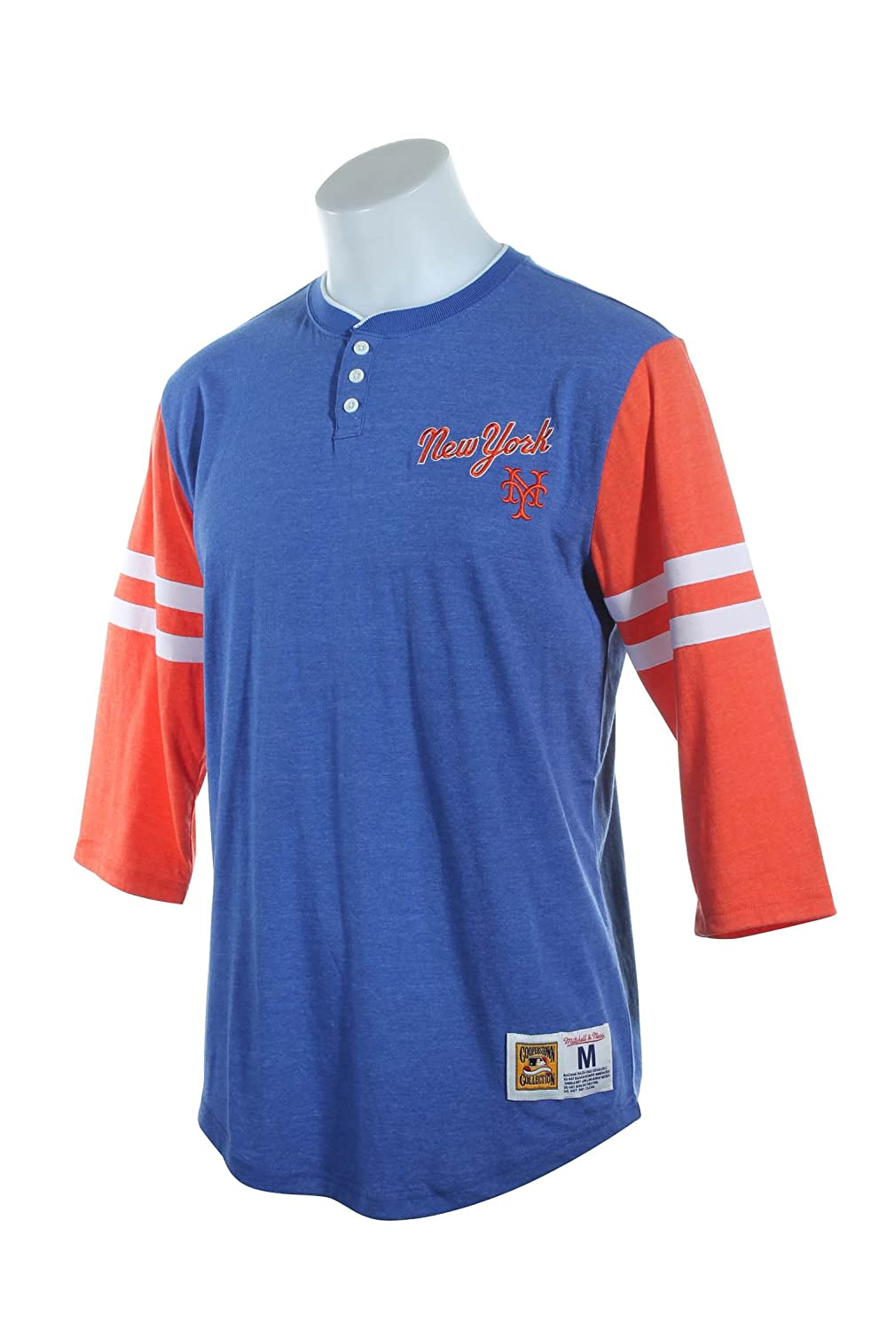 "Mitchell & Ness New York Mets ""Home Stretch"" T-Shirt - MLB 3/4 Sleeve Henley Shirt"