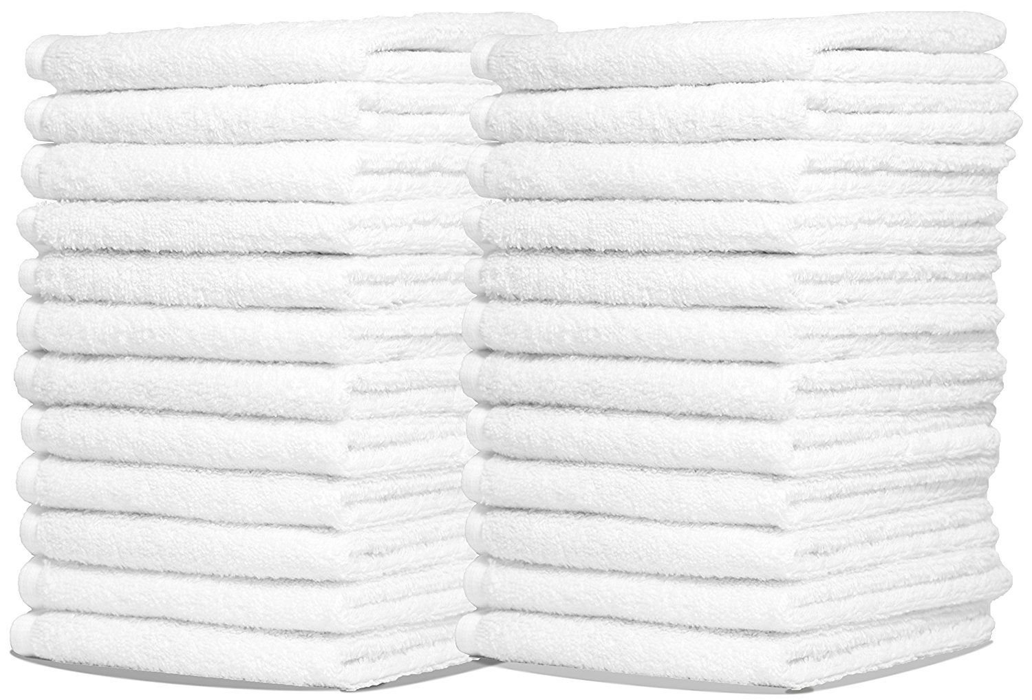 """Bulk Spa White Washcloths – Set of 25 – Size 12"""" x 12"""" – Thick Loop Pile Washcloth – Absorbent and Soft 100% Ring-Spun Cotton Wash Cloth – Lint Free Face Towel – Wash Cloths Perfect for Bathroom"""