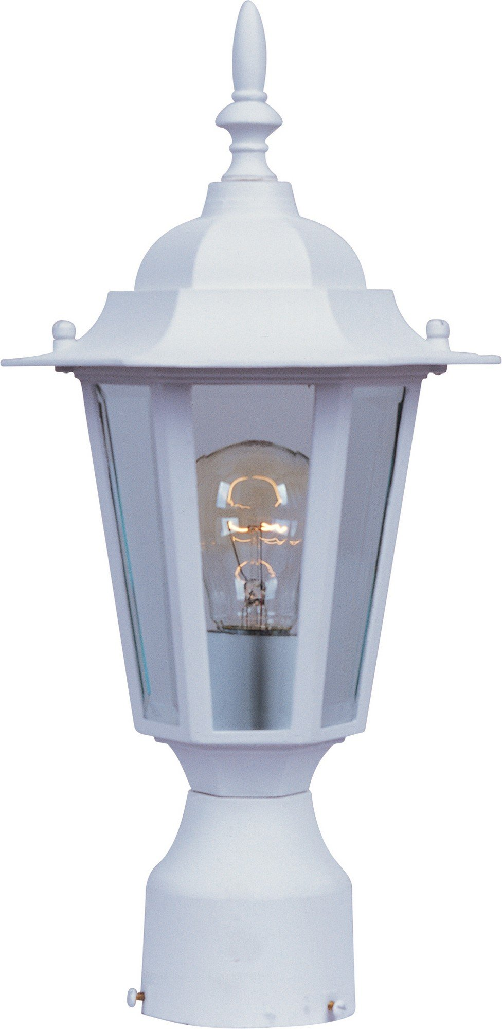 Maxim 3001CLWT Builder Cast 1-Light Outdoor Pole/Post Lantern, White Finish, Clear Glass, MB Incandescent Incandescent Bulb , 100W Max., Damp Safety Rating, Standard Dimmable, Glass Shade Material, Rated Lumens