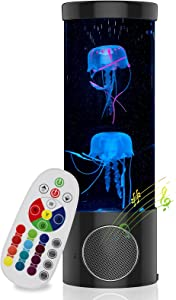 Jellyfish Lava Lamp, Electric Jellyfish Lamp with Bluetooth Speaker, Aquarium Jellyfish with Remote, Color Changing Night Light for Room Decor for Men Women Kids Bedroom, Mood Light for Relaxed, Black