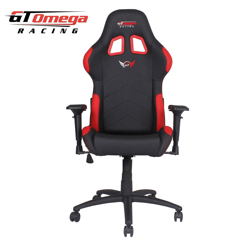 GT Omega Pro Bürostuhl aus Leder Schwarz Rot Amazon Küche & Haushalt