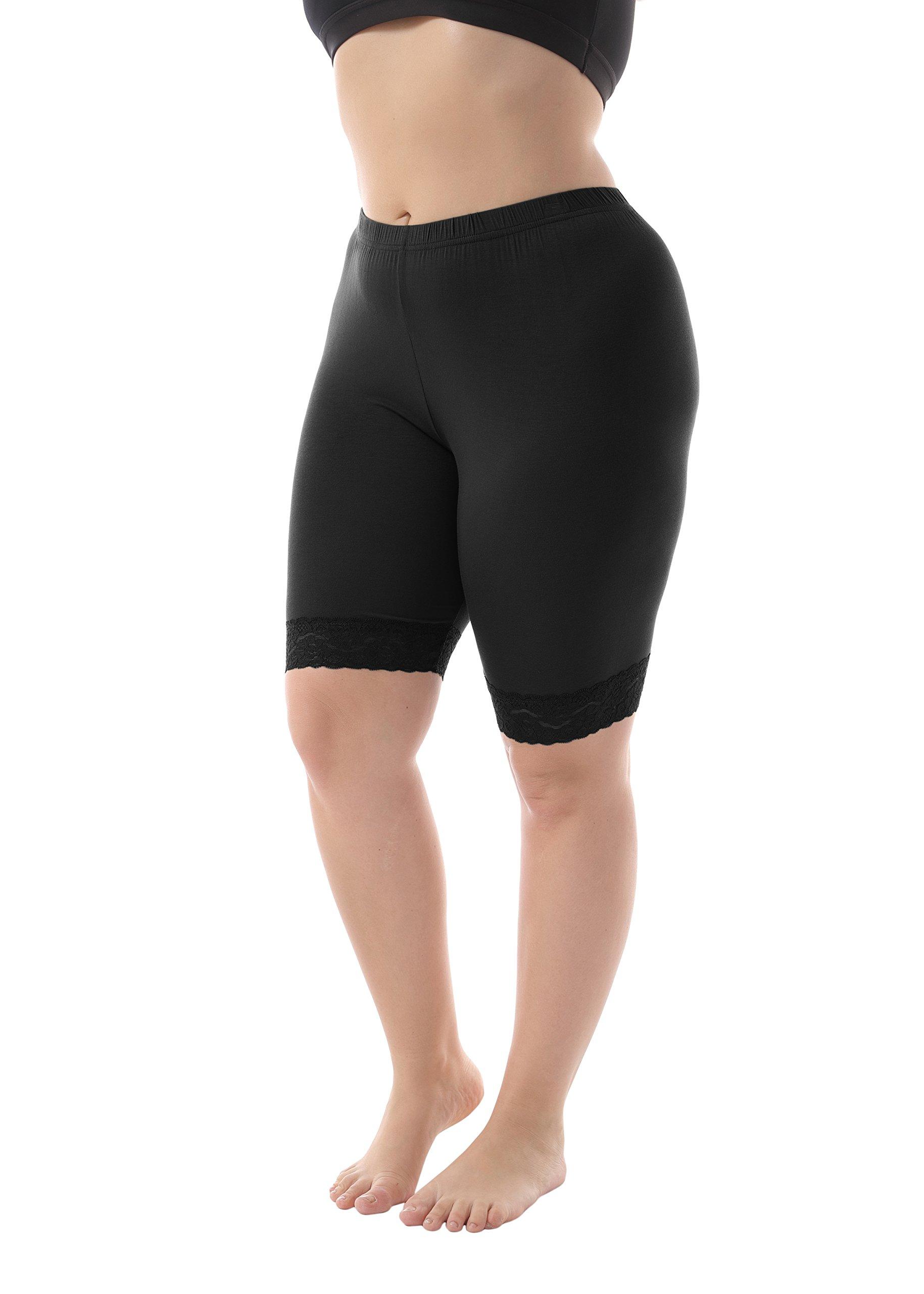 ZERDOCEAN Women's Plus Size Short Leggings with Lace Trim Black 2X Shorts