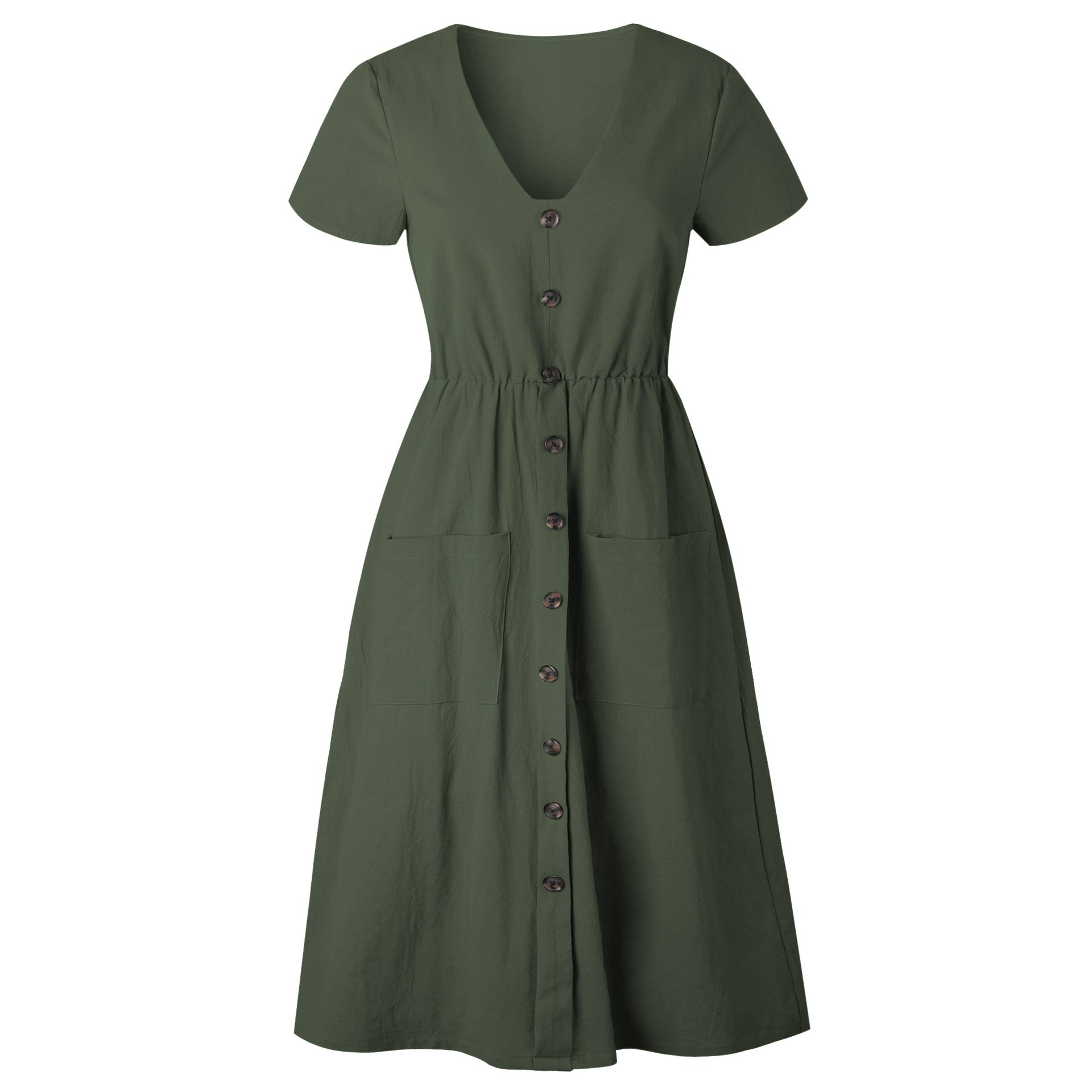 Women\'s Causal Solid V Neck Short Sleeve Button Down Swing Midi Dress with Pockets Green X-Large