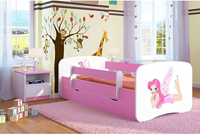 Cama infantil 70x140 Cama para Niños rosa con barrera de protección contra caídas Cajones extraíbles y base de listones - para niñas - 140 x 70 cm ...
