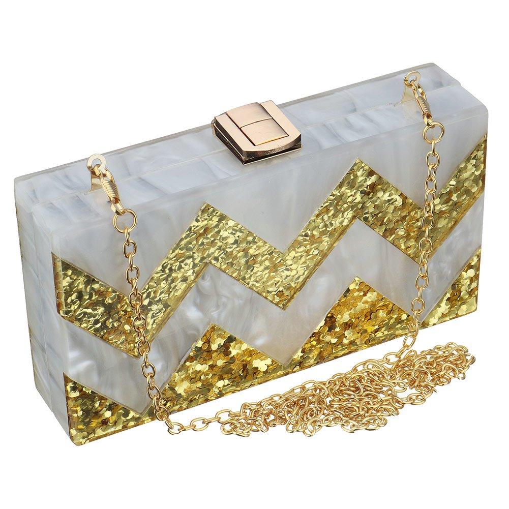 Women Acrylic Silver Gold...