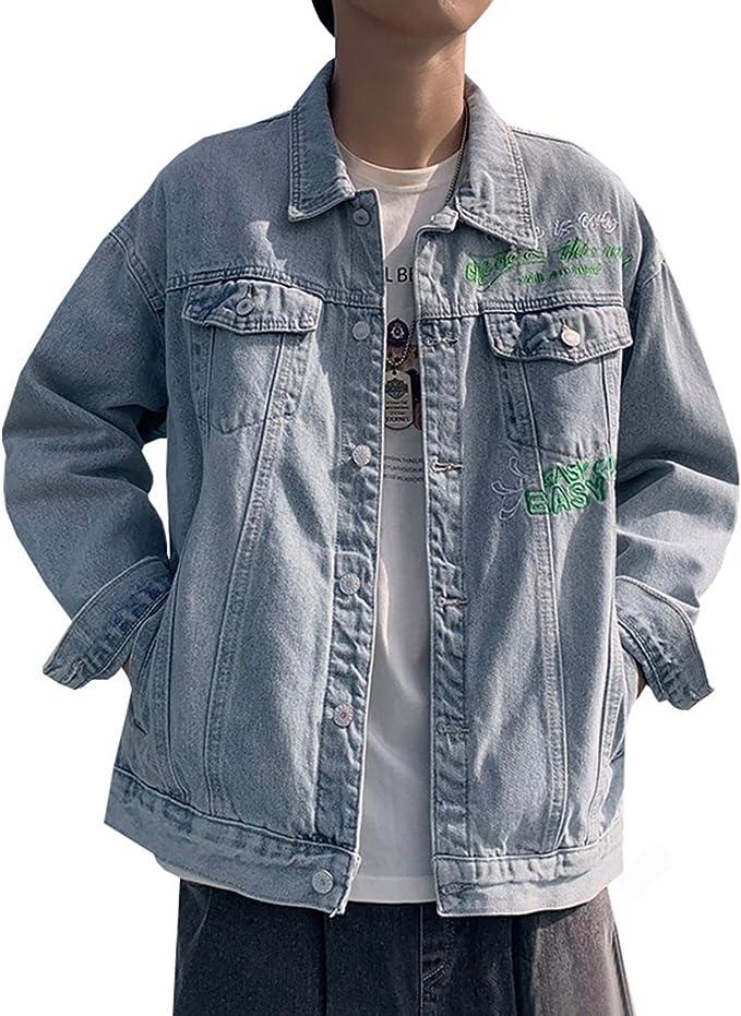 デニムジャケット Gジャン メンズ おしゃれ 英字柄 カッコイイ ゆったり ストレッチ 快適 合わせやすい お出かけ 通勤 通学 春秋 防風 防寒 大きいサイズ M-3XL ネイビー/ブルー ジージャン