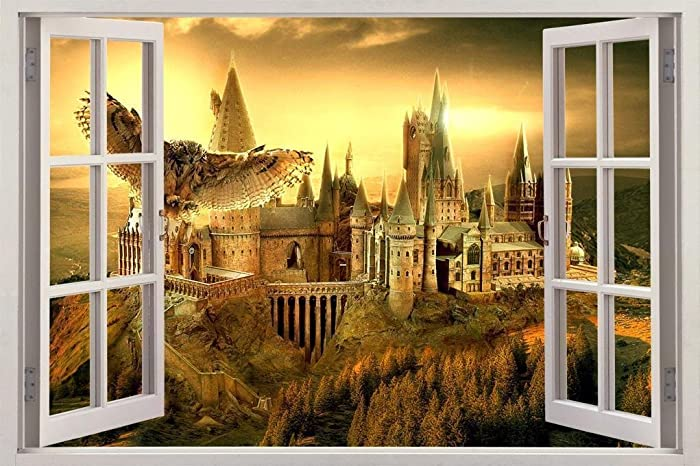 Amazon.com: Hogwarts Harry Potter 3D Window View Decal Graphic WALL ...