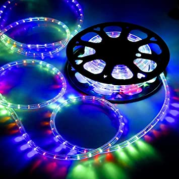 katop 50ft rgb multi color 2 wire led rope light indoor outdoor holiday - Multi Cafe Decoration