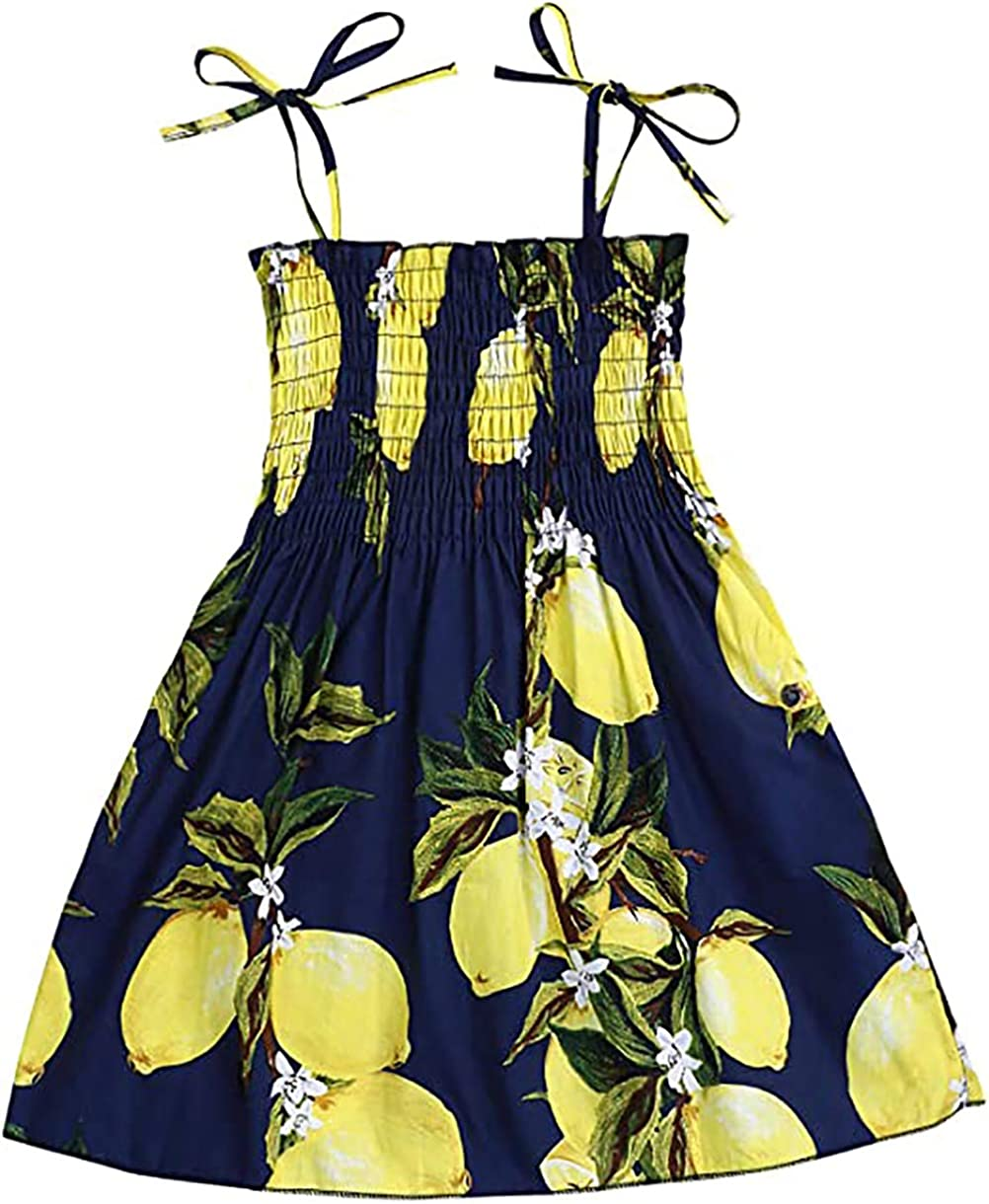 Casual Baby Girl Floral Summer Dress Outfits Kids Toddler Strap Elastic Beach Dress Playwear Clothes 1-6 Years