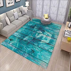 Animal,Home Decoration Floor mat,Silhouette of a King Lion Tiger on Wooden Oak Planks Hippie Style Retro Image Print,Can be Used for Floor Decoration,5.6'x7.6' Cadet Blue