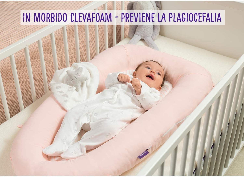 ClevaMama ClevaSleep Riduttore Lettino e Culla Neonato Antisoffoco Rosa 0-6 Mesi Baby Nest Portatile
