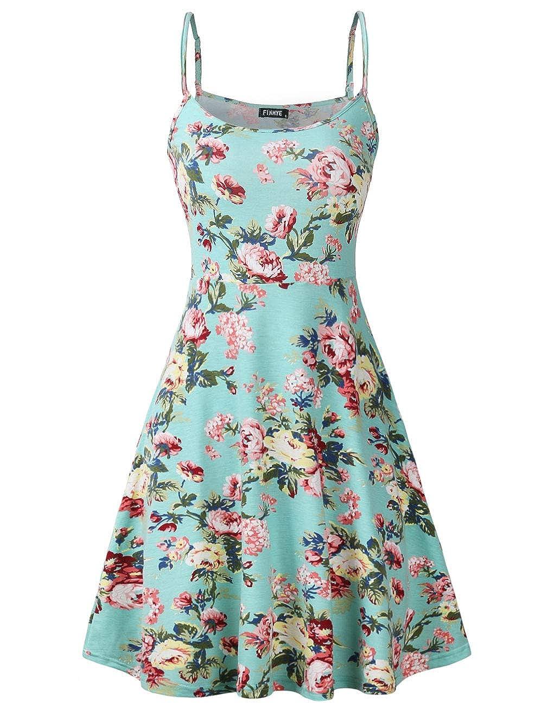 Green Floral FINMYE Womens Sleeveless Floral Printed Swing Sundress Spaghetti Strap Dresses