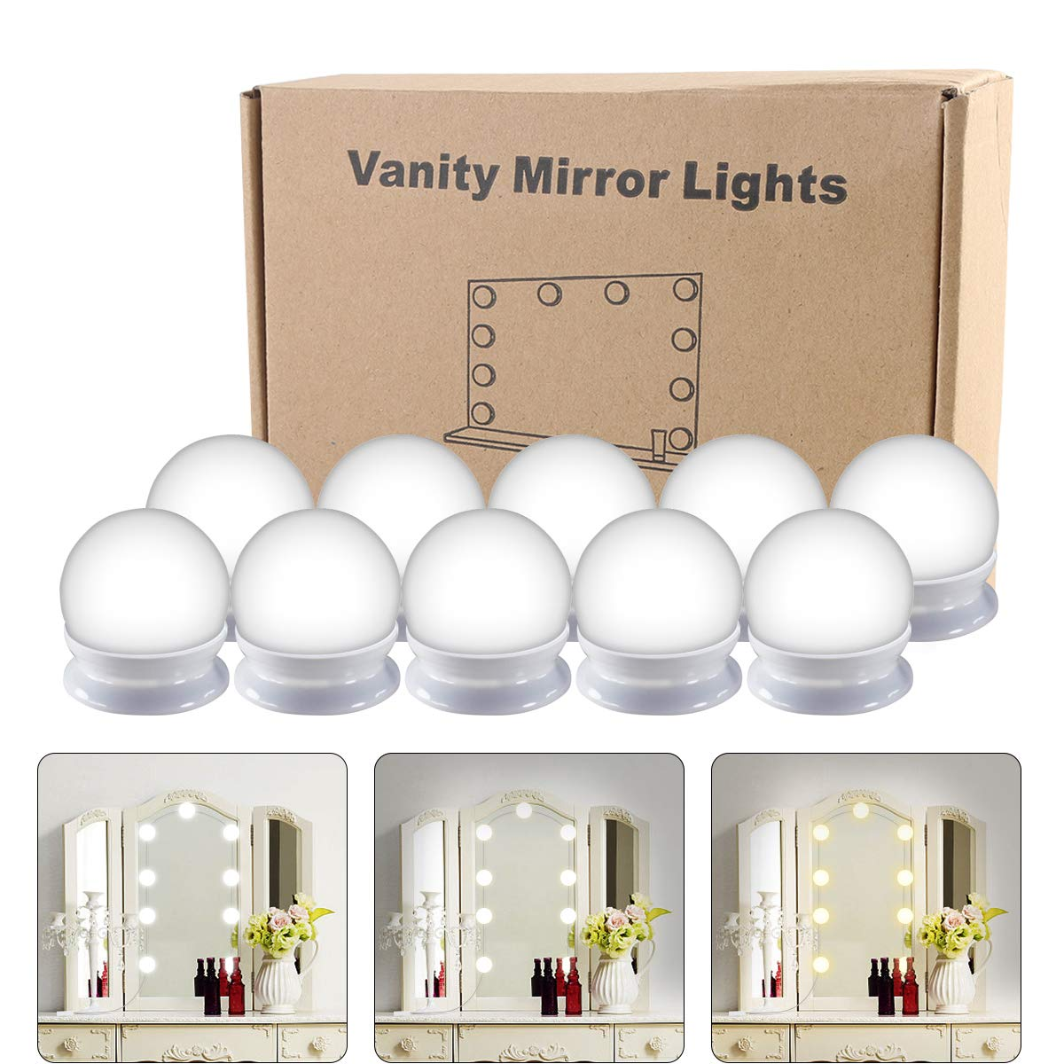 Smart Dimmer Hollywood Style LED Vanity Mirror Lights Kit Vanity Lights Makeup Lighting Fixture Strip with 10 Dimmable Light Bulbs USB Adapter for Makeup Vanity Table Set in Dressing Room