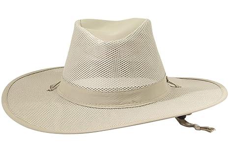 Stetson No Fly Zone Big Brim Mesh Safari Hat w/ Chin Cord (Khaki, Size Medium) at Amazon Mens Clothing store: