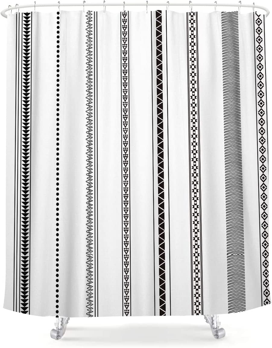 African Triangle Shower Curtain Stripes Herringbone Black and White Boho Geometrical Lines Square Dots Tribal Ethnic Abstract Fabric Waterproof Bathroom Home Decor Set 12 Pack Plastic Hooks 72x72 Inch