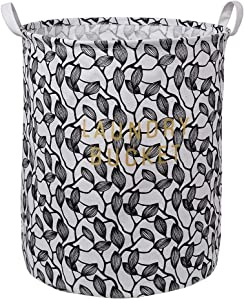 "LINENLUX Clothes and Toys Organizer Waterproof Hamper Foldable Laundry Basket for Storage (Black Leaf, 15.7"" x 19.7"")"