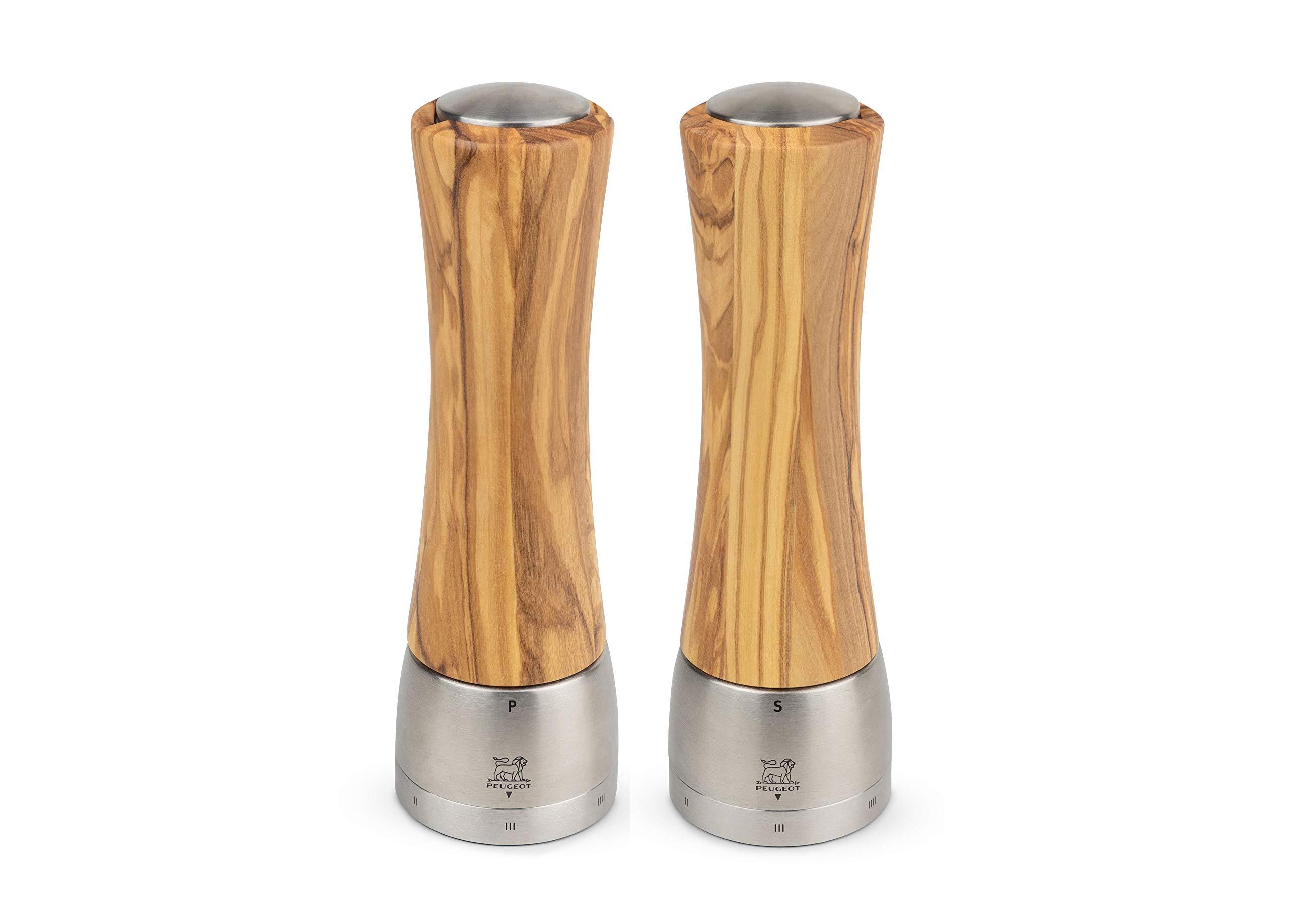 Peugeot Madras u'Select Olive Wood Mill Pepper & Salt Mill Set, 6-in by Peugeot Saveurs SNC