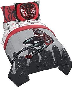 Jay Franco Marvel Miles Morales New Kid 7 Piece Queen Bed Set - Includes Comforter & Sheet Set Bedding - Super Soft Fade Resistant Microfiber (Official Marvel Product)