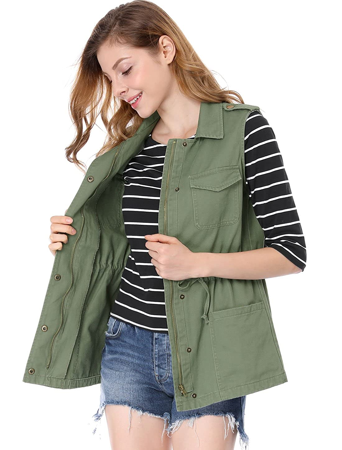 Allegra K Womens Drawstring Lightweight Utility Anorak Cargo Vest
