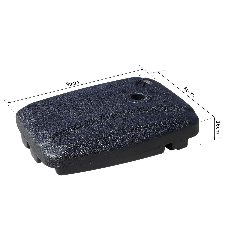 Outsunny Base per Ombrellone con 2 Ruote Riempibile con Acqua o Sabbia 50//60kg da Giardino HDPE 60x80x16cm