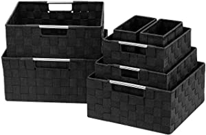 Sorbus Storage Box Woven Basket Bin Container Tote Cube Organizer Set Stackable Storage Basket Woven Strap Shelf Organizer Built-in Carry Handles (7 Piece - Black)