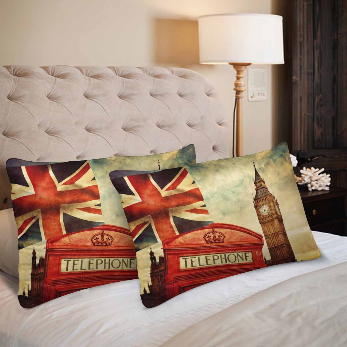 InterestPrint London Red Telephone Booth Big Ben National Flag Union Jack Pillow Cases Pillowcase Queen Size 20x30 Set of 2 Rectangle Pillow Covers Protector for Home Couch Sofa Bedroom Decoration