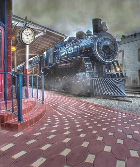 Generic Retro Train Station Platform Clock Photography Backgrounds For Photo Studios Vintage Children Newborn