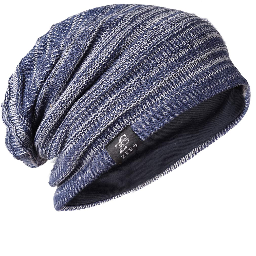 1019d89ce77 FORBUSITE Mens Slouchy Long Oversized Beanie Knit Cap for Summer Winter B08  (B50010-Blue with Grey) at Amazon Men s Clothing store
