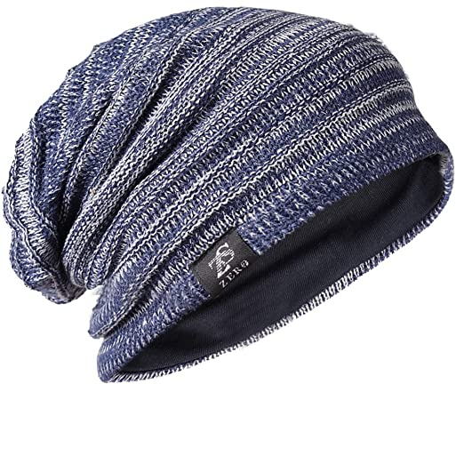 474460cef87 FORBUSITE Mens Slouchy Long Oversized Beanie Knit Cap for Summer Winter B08  (B50010-Blue