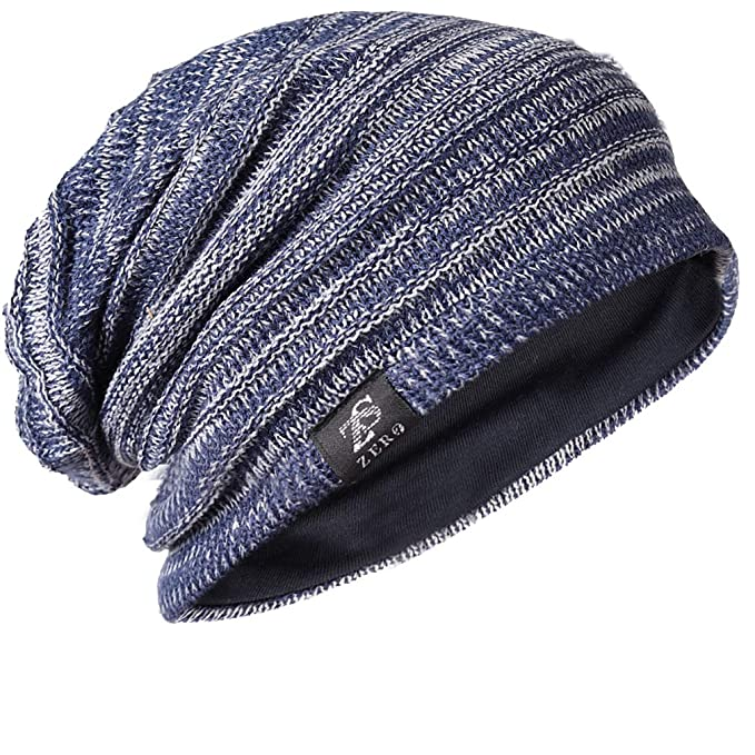FORBUSITE Mens Slouchy Long Oversized Beanie Knit Cap for Summer Winter B08  (B50010-Blue 20e89579f27