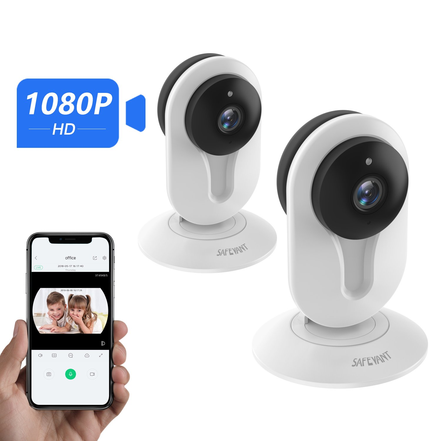 1080P Security Camera,Safevant Indoor Wireless IP Camera Security Surveillance System with Night Vision for Home/Office/Baby/Pet Monitor with iOS, Android App - Cloud Service Available
